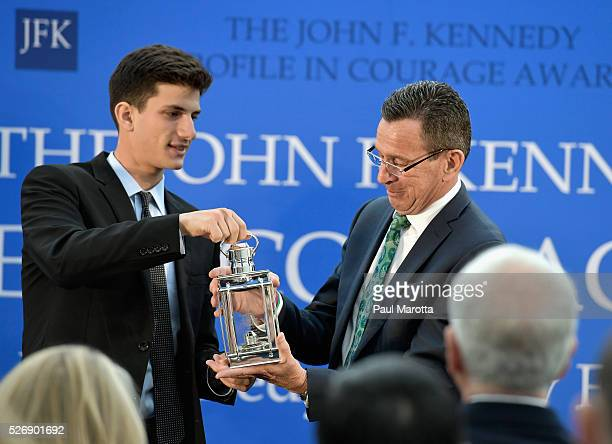 Jack Schlossberg presents Connecticut Governor Dannel Malloy with the 2016 John F Kennedy Profile in Courage Award at The John F Kennedy Presidential...
