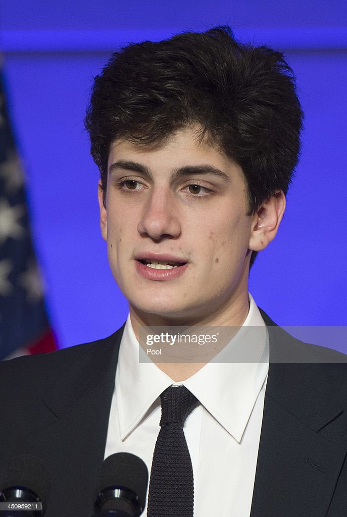 Jack Schlossberg, the grandson of President John F. Kennedy, introduces President Barack Obama during a dinner in honor of the Medal of Freedom awardees at the Smithsonian National Museum of American History on November 20, 2013 in Washington, DC. The Presidential Medal of Freedom is the nation's highest civilian honor, presented to individuals who have made meritorious contributions to the security or national interests of the United States, to world peace, or to cultural or other significant public or private endeavors.