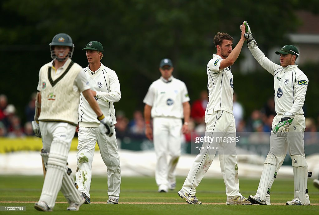Jack Shantry of Worcestershire celebrates after taking the wicket of <a gi-track='captionPersonalityLinkClicked' href=/galleries/search?phrase=Chris+Rogers+-+Cricket+Player&family=editorial&specificpeople=178255 ng-click='$event.stopPropagation()'>Chris Rogers</a> of Australia during day one of the Tour Match between Worcestershire and Australia at New Road on July 2, 2013 in Worcester, England.