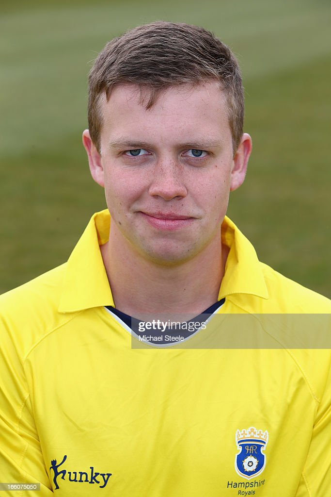 Jack Sheppard of Hampshire wearing the Yorkshire Bank 40 Over kit during the Hampshire CCC photocall at The Ageus Bowl on April 8, 2013 in Southampton, England.