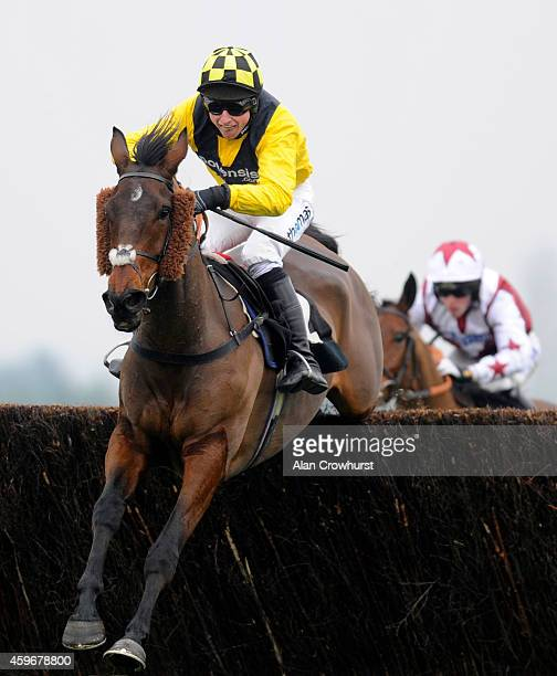 Jack Sherwood riding Wilton Milan clears the last to win The bet365 Conditional Jockeys' Handicap Steeple Chase at Newbury racecourse on November 28...