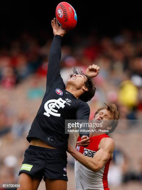 Jack Silvagni of the Blues and Callum Mills of the Swans compete for the ball during the 2017 AFL round 06 match between the Carlton Blues and the...