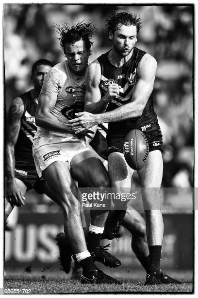 Jack Silvagni of the Blues and Joel Hamling of the Dockers contest for the ball during the round nine AFL match between the Fremantle Dockers and the...
