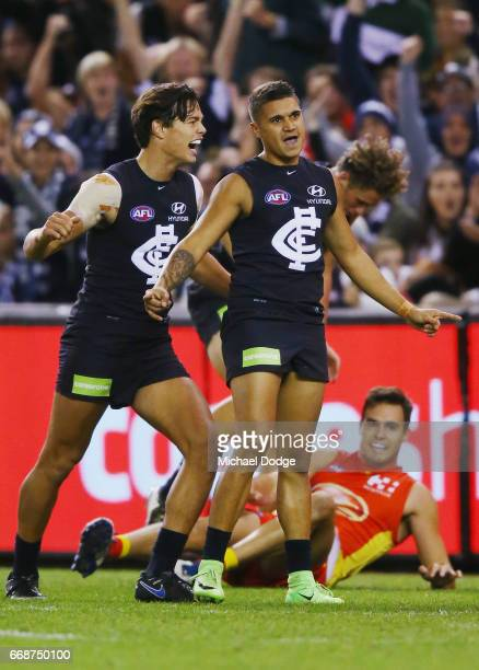 Jack Silvagni of the Blues and Sam PetrevskiSeton of the Blues celebrate a goal during the round four AFL match between the Carlton Blues and the...