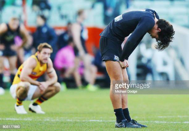 Jack Silvagni of the Blues looks dejected after defeat during the round 15 AFL match between the Carlton Blues and the Adelaide Crows at Melbourne...