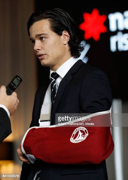 Jack Silvagni of the Blues looks on during the 2017 NAB AFL Rising Star awards at Peninsula at Atlantic on September 01 2017 in Melbourne Australia