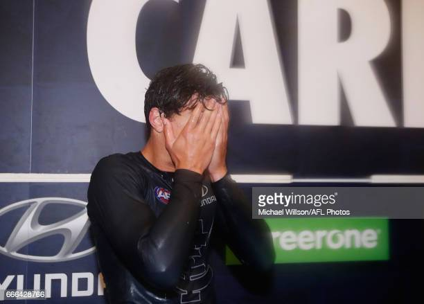 Jack Silvagni of the Blues sheds a tear during the 2017 AFL round 03 match between the Carlton Blues and the Essendon Bombers at the Melbourne...