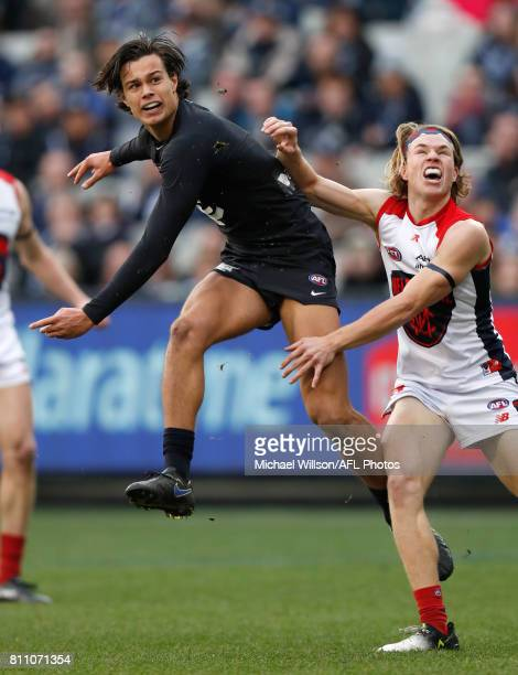 Jack Silvagni of the Blues snaps a goal during the 2017 AFL round 16 match between the Carlton Blues and the Melbourne Demons at the Melbourne...