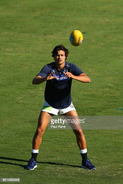 Jack Silvagni of the Blues warms up before the JLT Community Series AFL match between the Fremantle Dockers and the Carlton Blues at Domain Stadium...