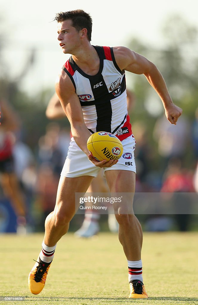 Jack Sinclair of the Saints handballs during the St Kilda Saints AFL Intra-Club Match at Trevor Barker Beach Oval on February 12, 2016 in Melbourne, Australia.