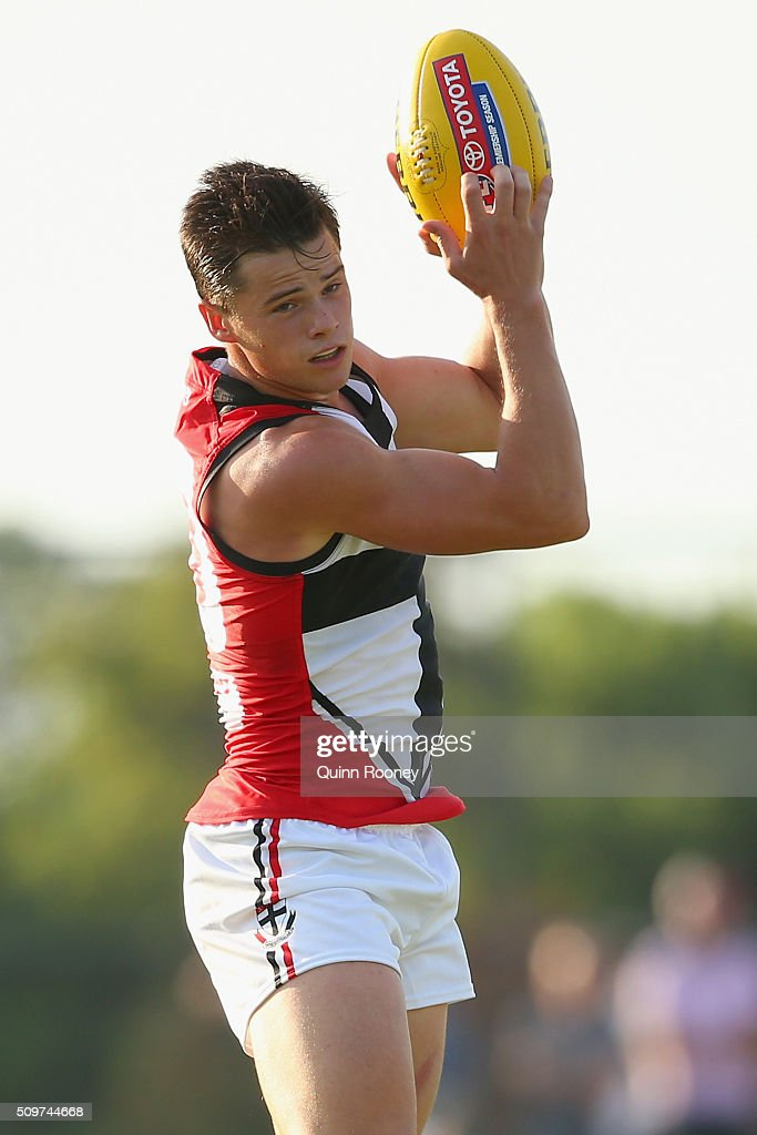 Jack Sinclair of the Saints marks during the St Kilda Saints AFL Intra-Club Match at Trevor Barker Beach Oval on February 12, 2016 in Melbourne, Australia.