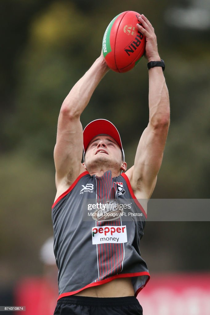Jack Sinclair of the Saints marks the ball during a St Kilda Saints AFL training session at Linen House Oval on November 15, 2017 in Melbourne, Australia.