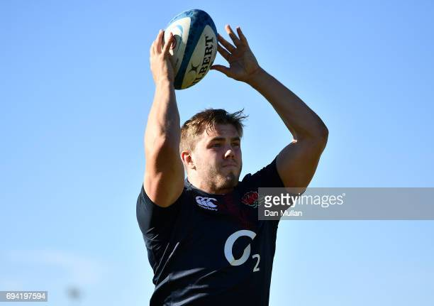 Jack Singleton of England practices his line out throw during a training session at the Universitario Rugby Club on June 9 2017 in San Juan San Juan