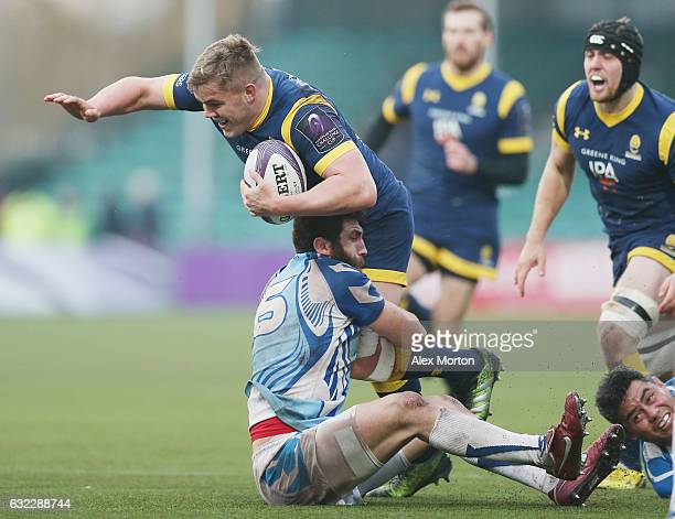 Jack Singleton of Worcester during the European Rugby Challenge Cup match between Worcester Warriors and EniseiSTM at Sixways Stadium on January 21...