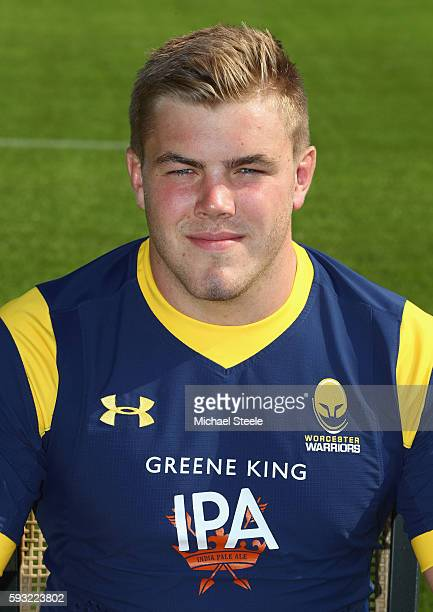 Jack Singleton poses for a portrait during the Worcester Warriors squad photo call for the 20162017 Aviva Premiership Rugby season on August 17 2016...