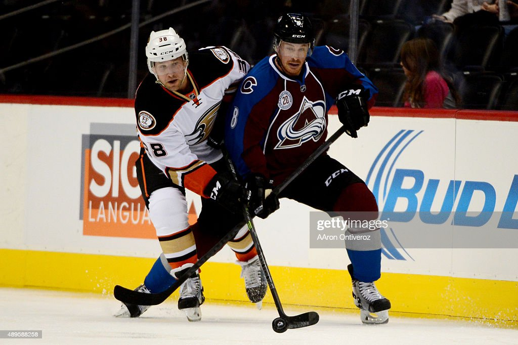 Jack Skille of the Colorado Avalanche and Chris Mueller of the Anaheim Ducks tangle during the first period on Tuesday September 22 2015