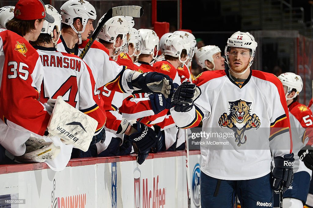 <a gi-track='captionPersonalityLinkClicked' href=/galleries/search?phrase=Jack+Skille&family=editorial&specificpeople=697014 ng-click='$event.stopPropagation()'>Jack Skille</a> #12 of the Florida Panthers celebrates after scoring a goal during the third period of an NHL game against Washington Capitals at Verizon Center on March 7, 2013 in Washington, DC.