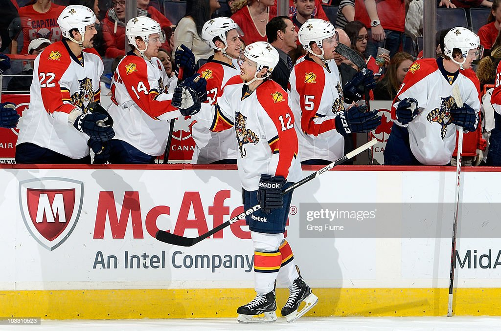 <a gi-track='captionPersonalityLinkClicked' href=/galleries/search?phrase=Jack+Skille&family=editorial&specificpeople=697014 ng-click='$event.stopPropagation()'>Jack Skille</a> #12 of the Florida Panthers celebrates after scoring in the third period against the Washington Capitals at the Verizon Center on March 7, 2013 in Washington, DC.
