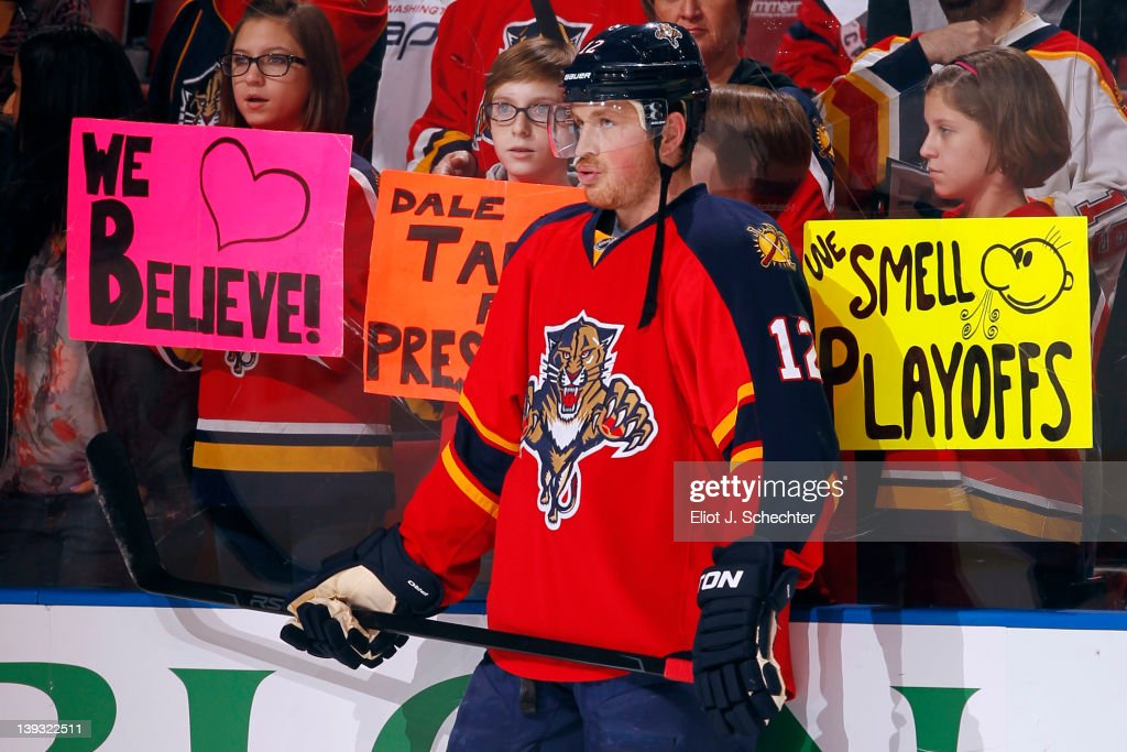 Jack Skille #12 of the Florida Panthers on the ice with sign support from fans prior to the start of the game against the Washington Capitals at the BankAtlantic Center on February 17, 2012 in Sunrise, Florida.