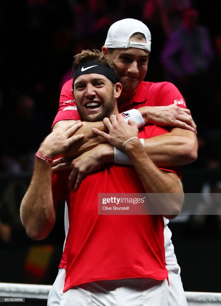 Jack Sock and John Isner of Team World celebrate winning match point during there mens doubles match between Tomas Berdych and Marin Cilic of Team Europe on the final day of the Laver cup on September 24, 2017 in Prague, Czech Republic. The Laver Cup consists of six European players competing against their counterparts from the rest of the World. Europe will be captained by Bjorn Borg and John McEnroe will captain the Rest of the World team. The event runs from 22-24 September.
