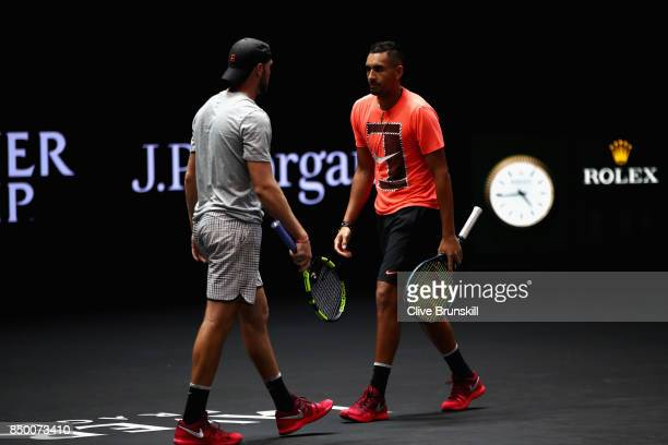 Jack Sock and Nick Kygrios train ahead of the Laver Cup on September 20 2017 in Prague Czech Republic The Laver Cup consists of six European players...