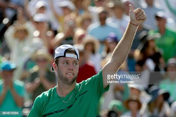 Jack Sock celebrates his win over Kei Nishikori of Japan during the quarterfinals of the BNP Paribas Open at the Indian Wells Tennis Garden on March...