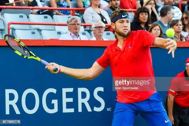 Jack Sock makes eye contact with the ball then returns it during his first round match at ATP Coupe Rogers on August 8 at Uniprix Stadium in Montreal...