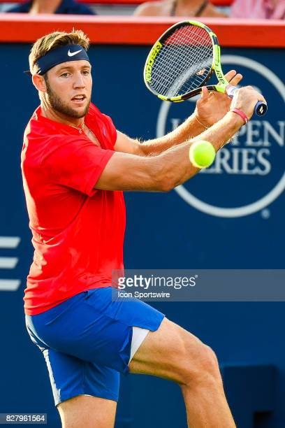 Jack Sock making eye contact with the ball before returning it during his first round match at ATP Coupe Rogers on August 8 at Uniprix Stadium in...