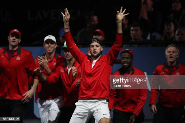 Jack Sock of Team World reacts as Nick Kyrgios of Team World plays his singles match against Tomas Berdych of Team Europe on Day 2 of the Laver Cup...