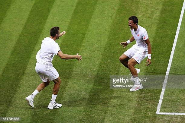 Jack Sock of the United States and Vasek Pospisil of Canada celebrates after winning the Gentlemen's Doubles Final against Bob Bryan and Mike Bryan...