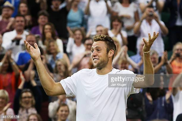 Jack Sock of the United States celebrate after winning the Gentlemen's Doubles Final with Vasek Pospisil of Canada against Bob Bryan and Mike Bryan...