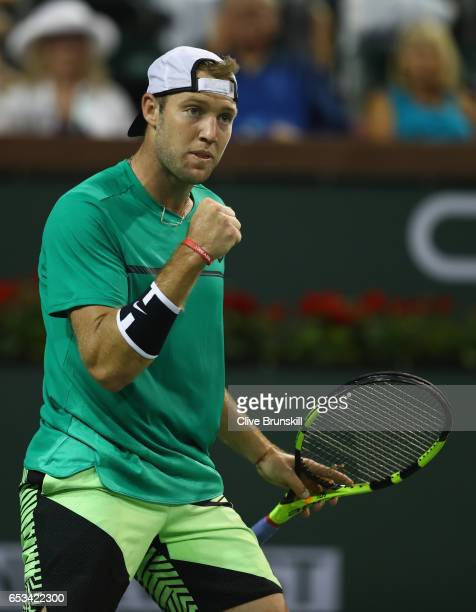 Jack Sock of the United States celebrates a point against Grigor Dimitrov of Bulgaria in their third round match during day nine of the BNP Paribas...