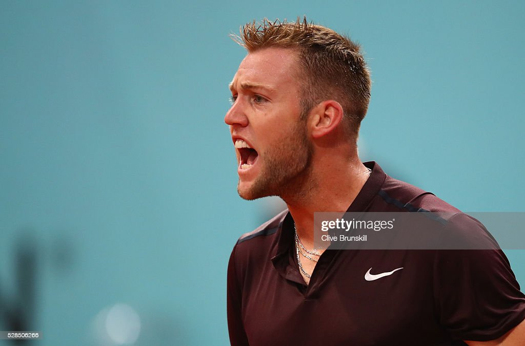 Jack Sock of the United States celebrates a point against Joao Sousa of Portugal in their third round match during day six of the Mutua Madrid Open tennis tournament at the Caja Magica on May 05, 2016 in Madrid,Spain