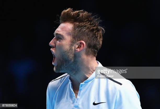 Jack Sock of the United States celebrates a point in his Singles match against Alexander Zverev of Germany during day five of the Nitto ATP World...