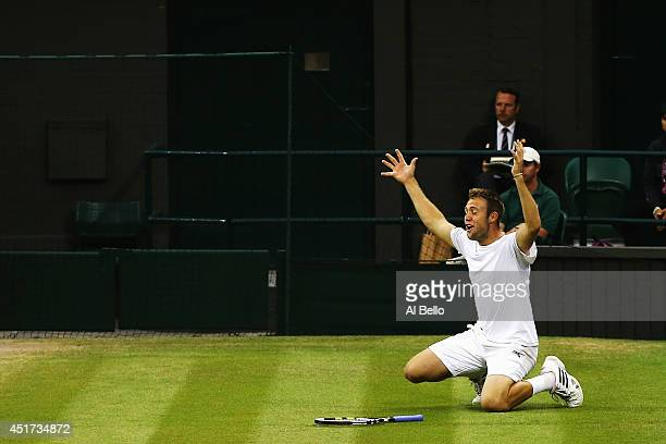 Jack Sock of the United States celebrates after winning the Gentlemen's Doubles Final with Vasek Pospisil of Canada against Bob Bryan and Mike Bryan...
