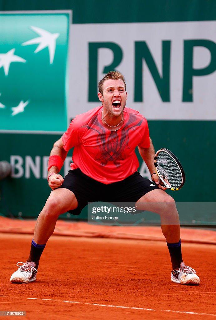 Jack Sock of the United States celebrates match point during his Men's Singles match against Pablo Caerreno Busta of Spain on day five of the 2015 French Open at Roland Garros on May 28, 2015 in Paris, France.