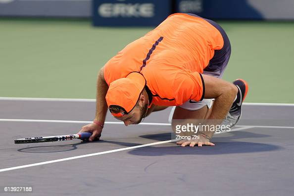 Jack Sock of the United States checks for a call during the match against Guido Pella of Argentina on Day 3 of the ATP Shanghai Rolex Masters 2016 at...