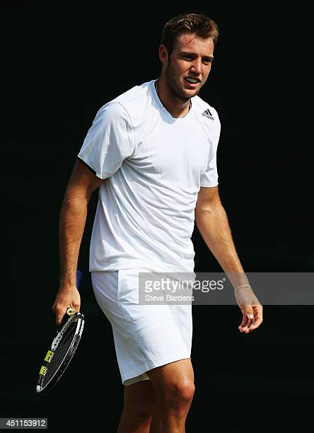 Jack Sock of the United States during his Gentlemen's Singles first round match against PierreHugues Herbert of France on day two of the Wimbledon...