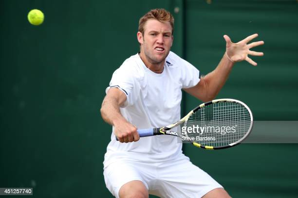 Jack Sock of the United States during his Gentlemen's Singles second round match against Milos Raonic of Canada on day four of the Wimbledon Lawn...