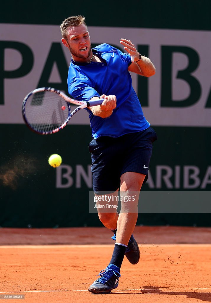 <a gi-track='captionPersonalityLinkClicked' href=/galleries/search?phrase=Jack+Sock&family=editorial&specificpeople=7157137 ng-click='$event.stopPropagation()'>Jack Sock</a> of the United States hits a forehand during the Men's Singles third round match against Albert Ramos-Vinolas of Spain on day six of the 2016 French Open at Roland Garros on May 27, 2016 in Paris, France.