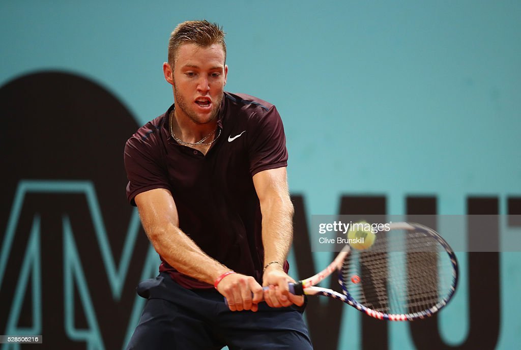 Jack Sock of the United States in action against Joao Sousa of Portugal in their third round match during day six of the Mutua Madrid Open tennis tournament at the Caja Magica on May 05, 2016 in Madrid,Spain