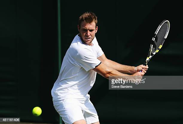 Jack Sock of the United States in action during his Gentlemen's Singles first round match against PierreHugues Herbert of France on day two of the...
