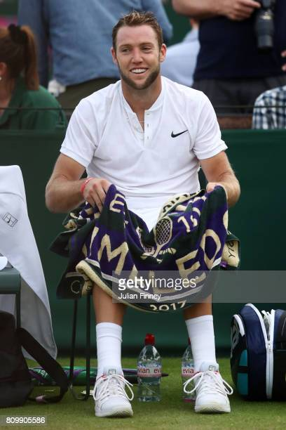 Jack Sock of The United States looks on during the Gentlemen's Singles second round match against Sebastian Ofner of Austria on day four of the...