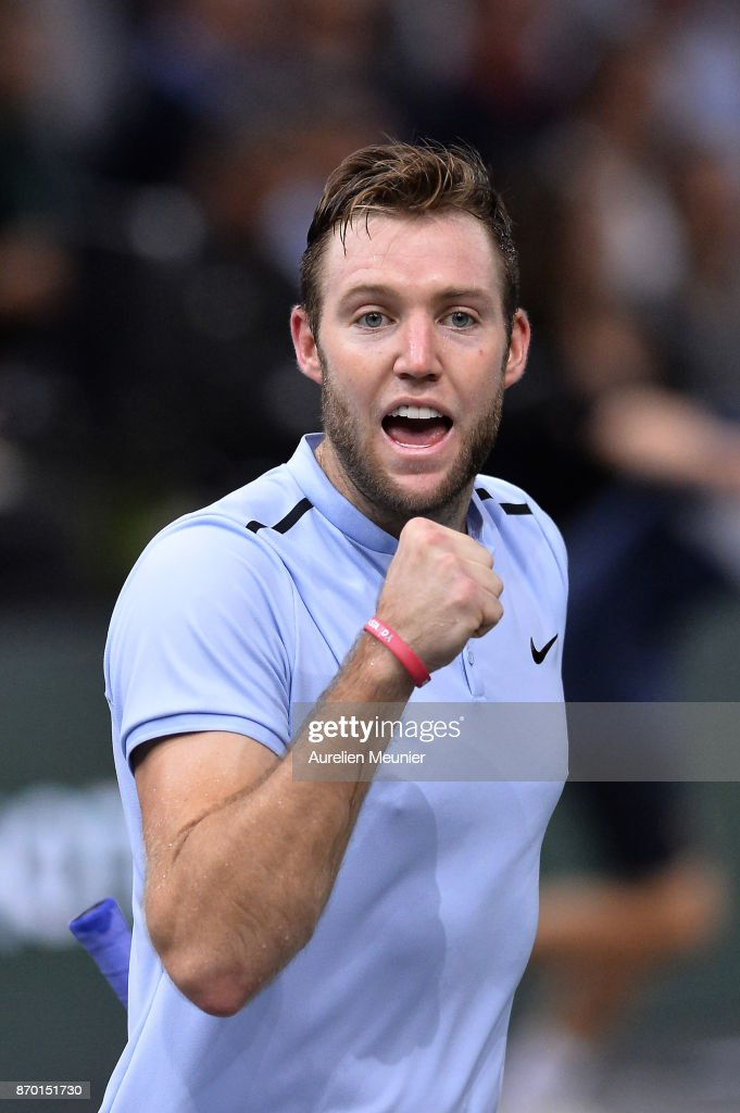 Jack Sock of the United States of America reacts in the men's singles semi final match against Julien Benneteau of France during day six of the Rolex Paris Masters at Palais Omnisports de Bercy on November 4, 2017 in Paris, France.