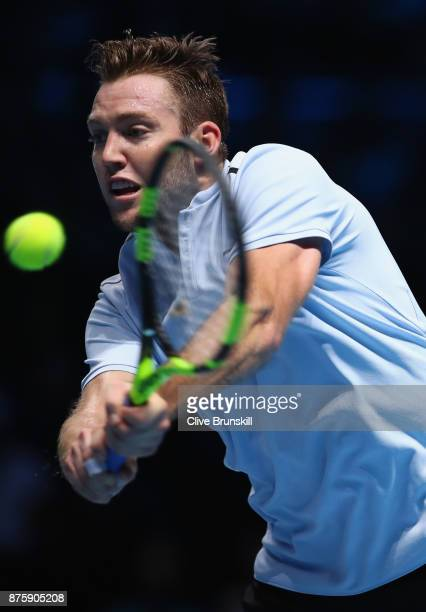 Jack Sock of the United States plays a backhand in his semi final match against Grigor Dimitrov of Bulgaria at the Nitto ATP World Tour Finals at O2...