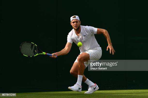 Jack Sock of The United States plays a forehand during the Gentlemen's Singles first round match against Christian Garin of Chile on day two of the...