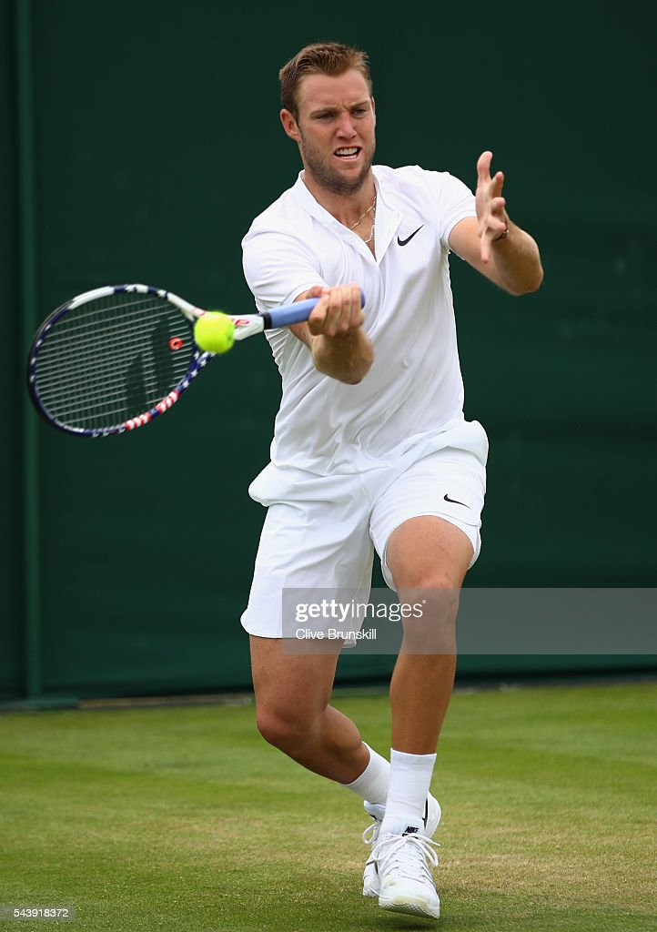 <a gi-track='captionPersonalityLinkClicked' href=/galleries/search?phrase=Jack+Sock&family=editorial&specificpeople=7157137 ng-click='$event.stopPropagation()'>Jack Sock</a> of The United States plays a forehand during the Men's Singles second round match against Robin Haase of The Netherlands on day four of the Wimbledon Lawn Tennis Championships at the All England Lawn Tennis and Croquet Club on June 30, 2016 in London, England.