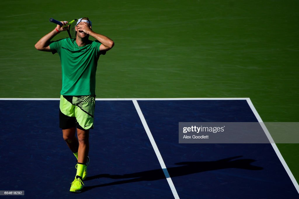 Jack Sock of the United States reacts to a point during a match against Kei Nishikori of Japan in the men's quarterfinals match on Day 12 during the BNP Paribas Open at Indian Wells Tennis Garden on March 17, 2017 in Indian Wells, California.