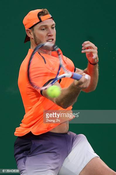 Jack Sock of the United States returns a shot during the match against Guido Pella of Argentina on Day 3 of the ATP Shanghai Rolex Masters 2016 at Qi...