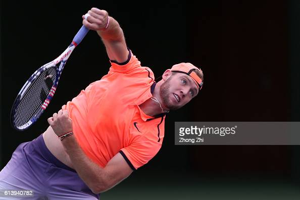 Jack Sock of the United States serves during the match against Guido Pella of Argentina on Day 3 of the ATP Shanghai Rolex Masters 2016 at Qi Zhong...